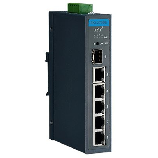 Advantech EKI-2706E-1GFP 4FE PoE+1G+1G SFP Unmanaged Ethernet Switch