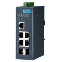 EKI-7706E-2F Ethernet Managed redundanter industrieller Switch mit 4 Fast Ethernet und 2 SFP Ports von Advantech vorne