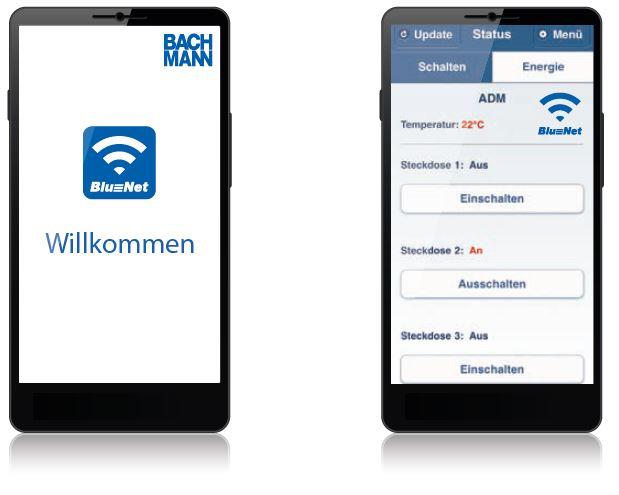 Interface der Smartphone App zur Steuerung und Überwachung der BN1500 Leisten von Bachmann.