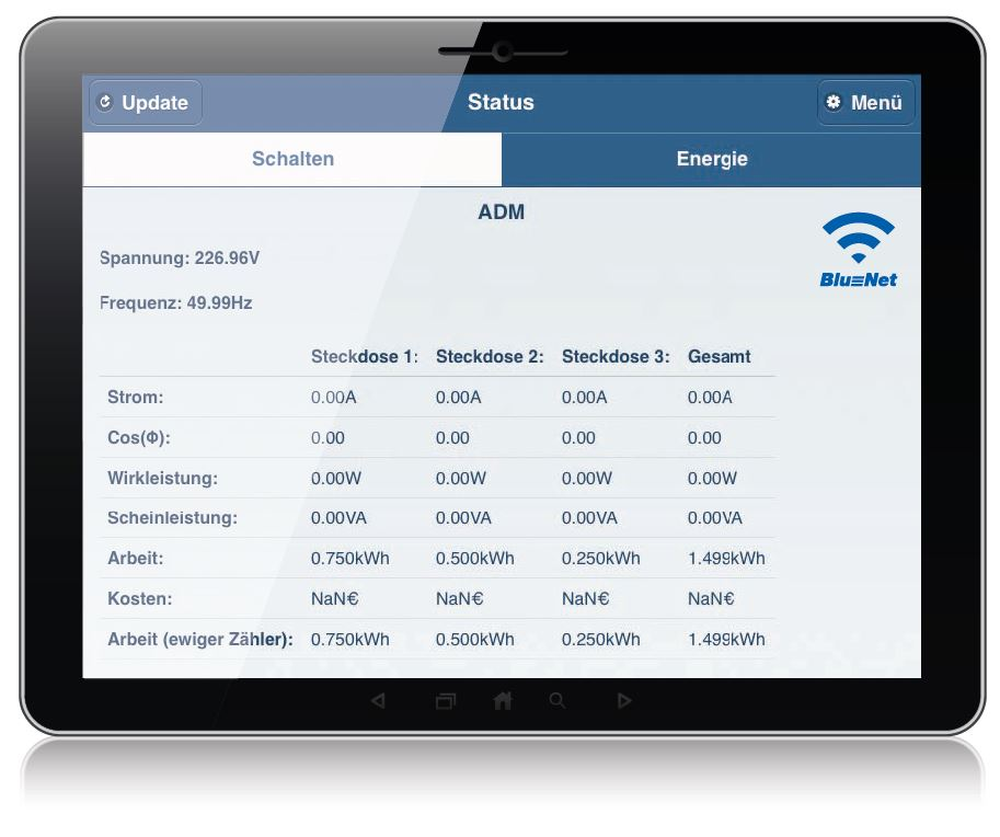 Interface der Tablet App für Bachmann BlueNet BN1500 Steckerleisten.