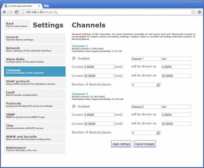 Webinterface des P2520 Websensors für 0-20mA Eingänge von Comet System.