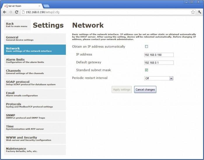 Netzwerkeinstellungen am Webinterface des P8641 Websensors von Comet.