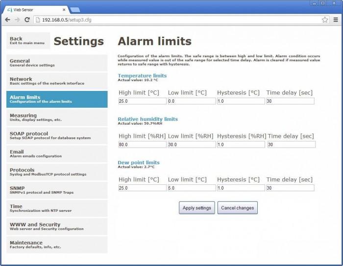 Webinterface zur Konfiguration von Alarmen des T3510 Sensors für Temperatur von Comet.