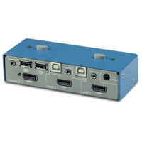 K502 Secure KVM Switch von High Sec Labs mit 2 Ports für DisplayPort Video, Audio und USB.