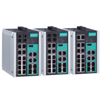 EDS-518E managed Ethernet Switches von Moxa mit 14 Fast-Ethernet und 4 Gigabit Ports.