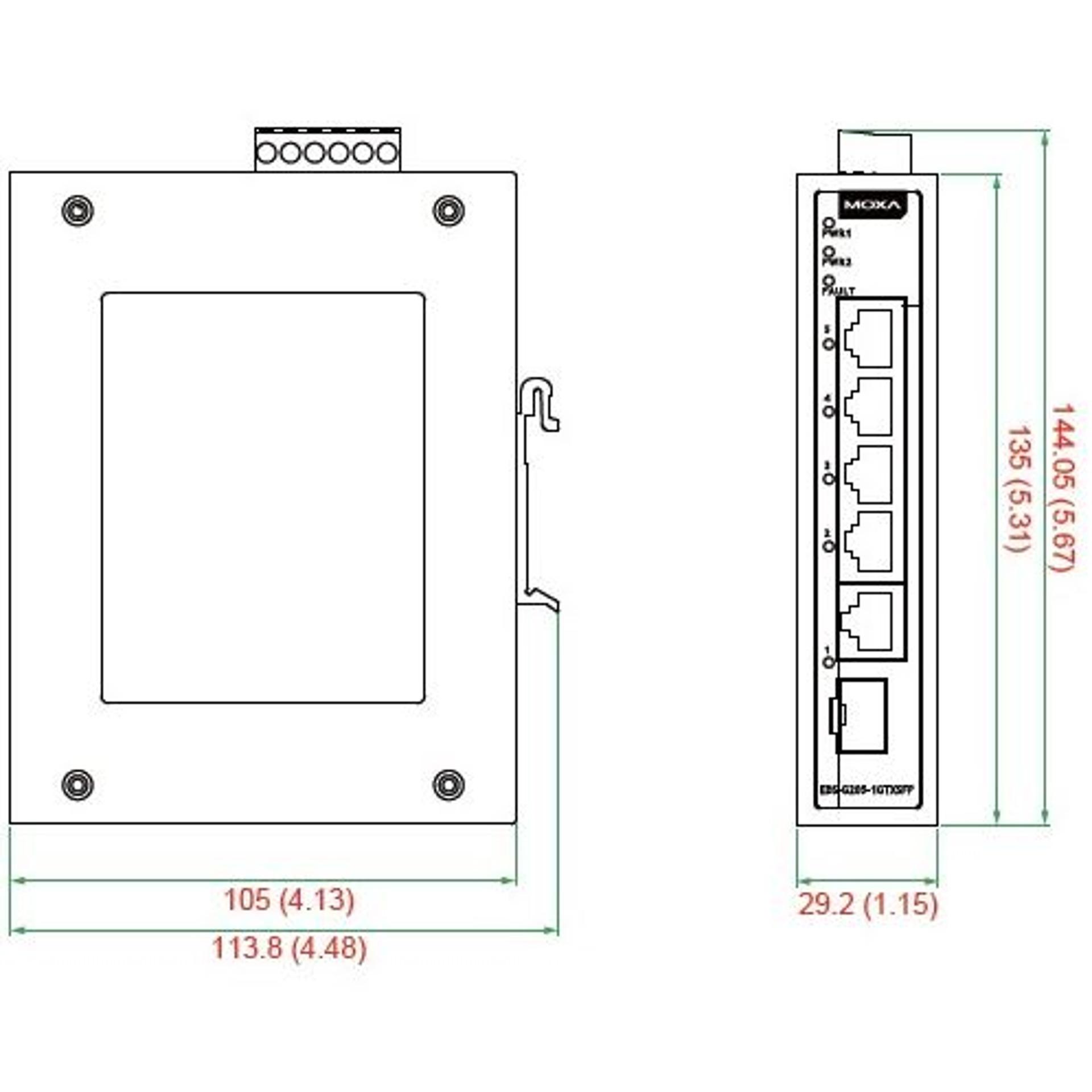 Eds G205 1gtxsfp Switches Von Moxa Bellequip
