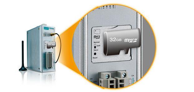 ioLogik 2512-GPRS als Datenlogger mit MicroSD Karte mit maximal 32GB.