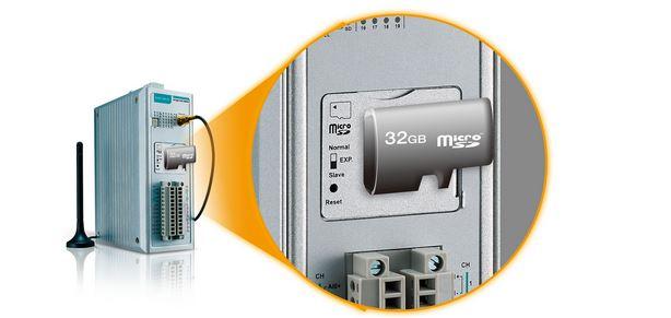 MicroSD Datenlogger Funktion des ioLogik 2542-GPRS Systems von Moxa.