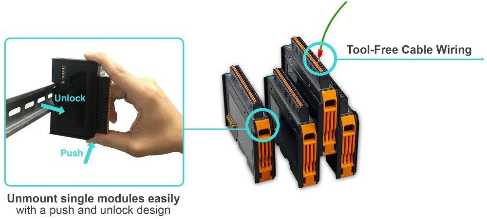 ioThinx 4500 Serie 45MR Module für die ioThinx 45XX Geräte von Moxa Montage