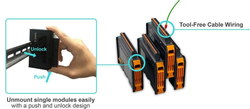ioThinx 4510 modularer Remote I/O Adapter mit seriellen Schnittstellen und bis zu 32 Modulen von Moxa Montage