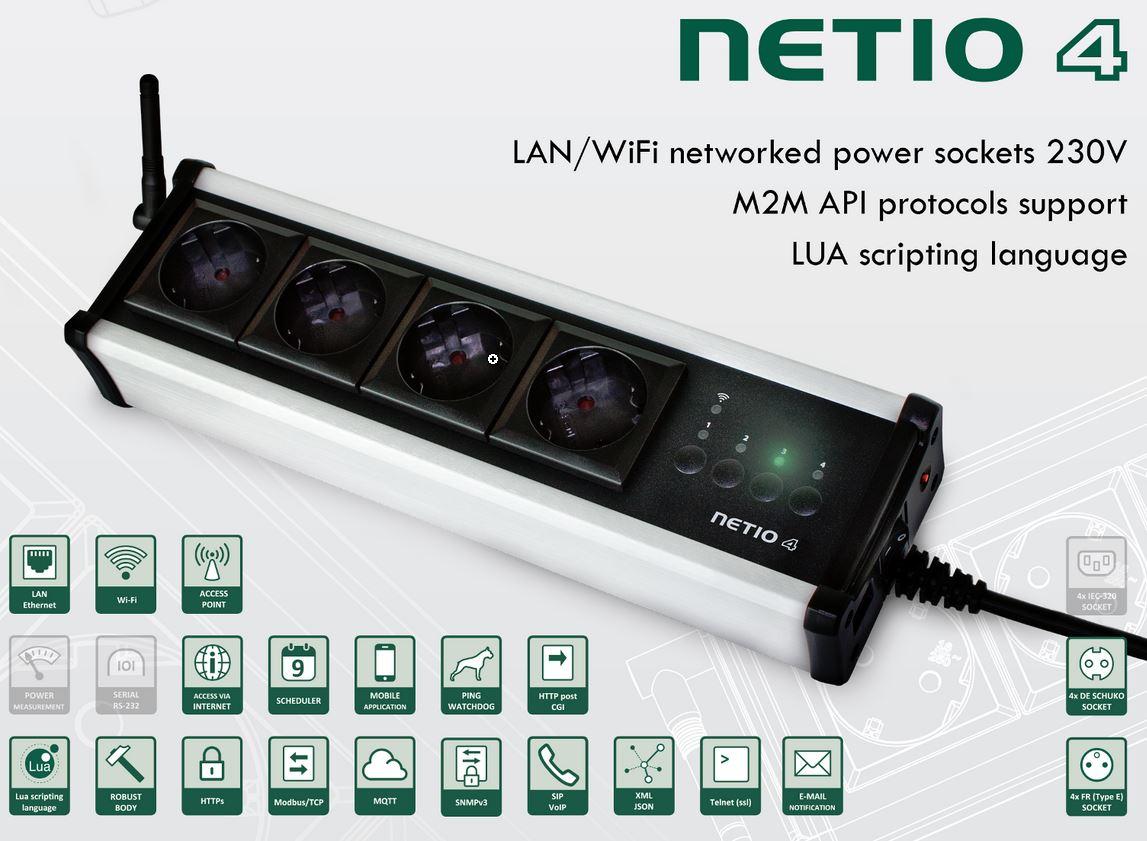 NETIO 4 4 Port programmierbare, smarte über Netzwerk und WLAN fernsteuerbare Steckdosenleiste