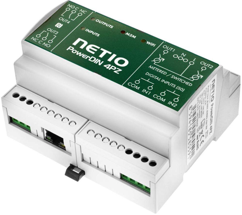 PowerDIN-4PZ Dual 230V/16A Stromzähler mit 2x DI und 4x DO von NETIO gedreht