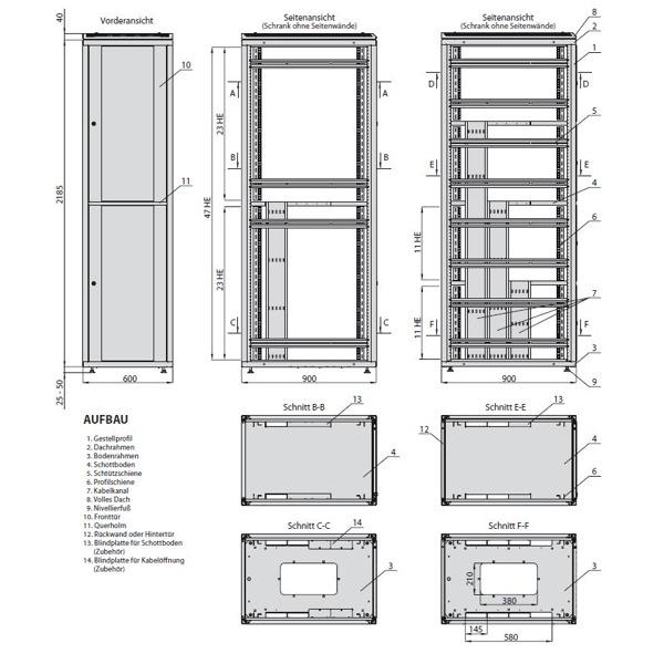 Dsr colocation schrank mit 19 zoll von zpas bellequip for Schrank zeichnung