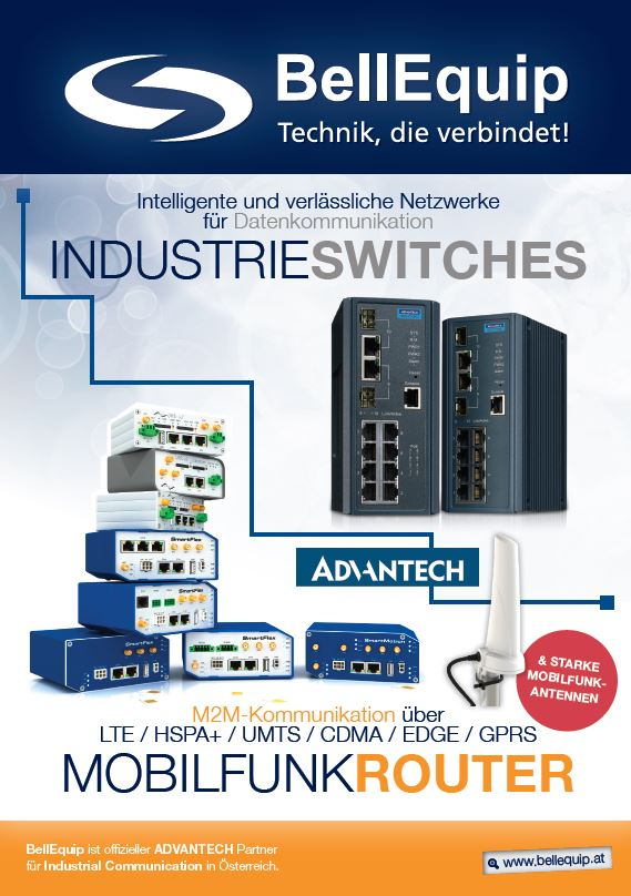Titelblatt BellEquip Folder Advantech Mobilfunkrouter und Industrieswitches